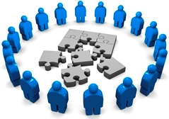 networking circle with puzzle pieces
