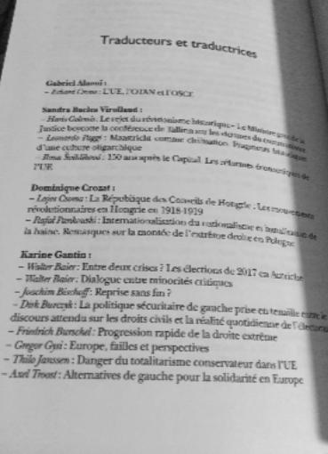 Liste des traducteurs des essais politiques européens du Yearbook 2018 de Transform! Autriche Union Européenne